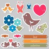 Romantic stickers for scrapbook. Set of romantic stickers for scrapbook Royalty Free Stock Photos