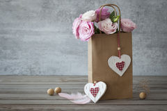 Romantic still life background with roses Stock Photos