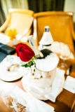 Romantic still life. With pink champagne and beautiful red roses. Valentine's day concept.Soft focus Stock Photo
