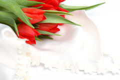 Romantic still-life with red tulips Royalty Free Stock Image