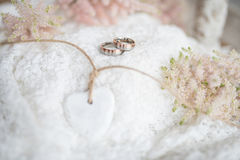 Romantic still life with wedding rings Stock Photography
