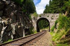 Romantic stone bridge over railway in beautiful forest, Czech republic Stock Photography