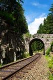 Romantic stone bridge over railway in beautiful forest, Czech republic Stock Photos