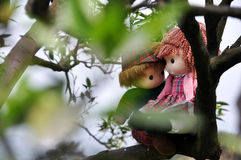 Romantic story in citrus orchard. Two rag babies are sitting in the citrus orchard just like lover stock images
