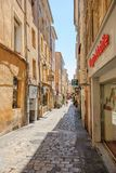 Romantic street in Aix-En-Provence, South of France with pedestr Stock Photos