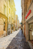 Romantic street in Aix-En-Provence, South of France with pedestr Stock Images