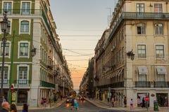 Romantic street in Lisbon. Romantic street in the center of Lisbon city, Portugal. Photo taken on: September 23rd, 2014 royalty free stock image