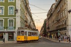 Romantic street in Lisbon. Romantic street in the center of Lisbon city, Tram 12 Portugal. Photo taken on: September 23rd, 2014 royalty free stock photography