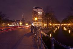 Romantic street view in Amsterdam Netherlands Stock Photography