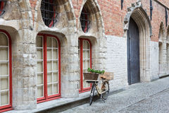 Romantic street view in Bruges Royalty Free Stock Images