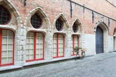 Romantic street view in Bruges Stock Photos