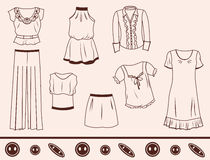Romantic style. A set of silhouettes of romantic style clothing Royalty Free Stock Images