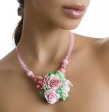 Romantic Style, Fashion: Beautiful woman with a Floral Rose Neck stock photo