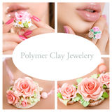 Romantic style: Fashion studio shot of beautiful woman with a fl. Romantic style: Polymer clay jewelery: beautiful woman with a big floral ring, vintage royalty free stock image