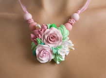 Romantic Style: Fashion studio shot of a Floral Rose Necklace Royalty Free Stock Photo