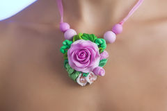 Romantic Style: Fashion studio shot of a Floral Rose Necklace royalty free stock image