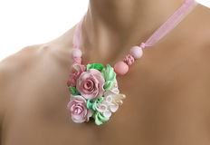 Romantic Style: Floral Rose Necklace Royalty Free Stock Photos