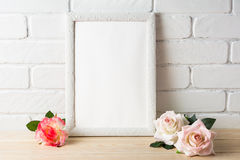 Romantic style white frame mockup with roses Royalty Free Stock Photos