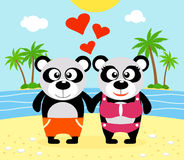 Romantic Summer  background with panda Stock Photography