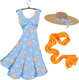 Romantic summer dress and accessories. Stock Photo