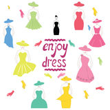 Romantic summer dress, hat, gloves in vector Royalty Free Stock Photos