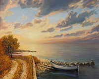 Romantic Sunrise by the Sea. An oil painting on canvas of a romantic colorful sunrise by the sea with a boat floating on a tranquil water surface Royalty Free Stock Photography