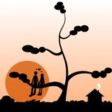 Romantic sunset. Illustration of a couple sitting on a tree in front of the sunset Royalty Free Stock Image