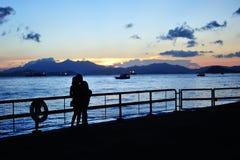 Romantic Sunset. Couple, Sunset, Sea, Romantic and Love stock image