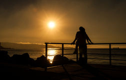 Romantic Sunset. At the sea Royalty Free Stock Images