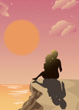 Romantic sunset. People in love watching the sunset, Use of gradients as well as transparency Royalty Free Stock Photography