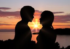 Romantic sunset. Young couple with romantic sunset in background stock illustration