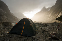 Romantic sunset in the alpine camp Stock Photography