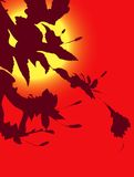 Romantic sunset background. With hibiscus silhouette Stock Photography