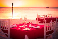 Romantic sunset Beach dining Royalty Free Stock Image