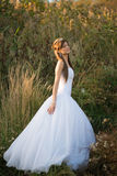 Romantic sunset bridal portrait Royalty Free Stock Image