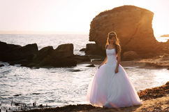 Romantic sunset bridal portrait Royalty Free Stock Photo