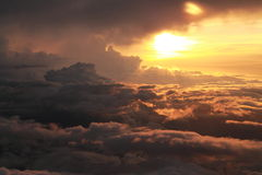 Romantic sunset in the clouds Stock Images