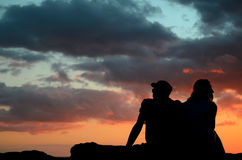 Romantic Sunset Couple Stock Photos