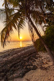 Romantic sunset on a desert island, Maldives Stock Image