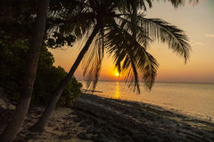 Romantic sunset on a desert island, Maldives Stock Photography
