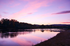 Romantic sunset at fjord landscape during autumn Royalty Free Stock Photo