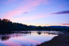 Romantic sunset at fjord landscape during autumn Stock Photo
