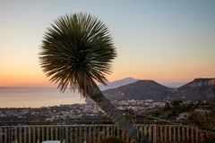 Romantic sunset in the Gulf of Naples. Sorrento. Italy Royalty Free Stock Images