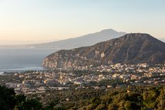 Romantic sunset in the Gulf of Naples and Vesuvius. Sorrento. Italy royalty free stock image