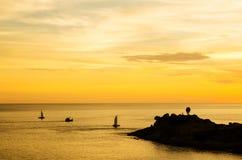 Romantic sunset at Laem Phromthep view point, Phuket Thailand Stock Photos