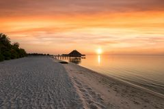 Romantic sunset in the Maldives Royalty Free Stock Photo