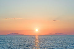 Romantic sunset over eolian islands Sicily Italy Stock Photo