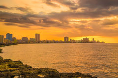 Romantic sunset over the Havana skyline Royalty Free Stock Photos
