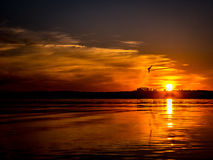 Romantic sunset over the lake Royalty Free Stock Images