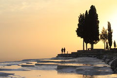 Romantic sunset at Pamukkale,Turkey Royalty Free Stock Images